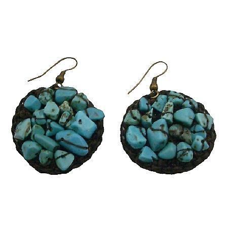 Hippie women Ring Hoop Dangle Earrings Tuquoise Stone