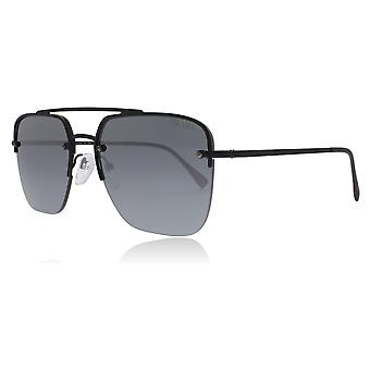 Prada Sport PS54SS DG05L0 Black Rubber PS54SS Oval Sunglasses Lens Category 3 Lens Mirrored Size 59mm