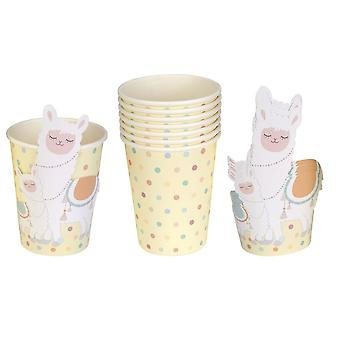 Llama Love - Paper Party Cups - 8 Pack - Partyware