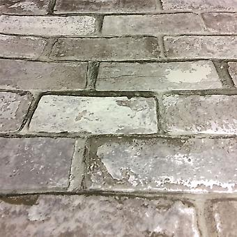 Brick Effect Wallpaper Slate 3D Weathered Stone Realistic Paste The Paper Debona Mixed Grey
