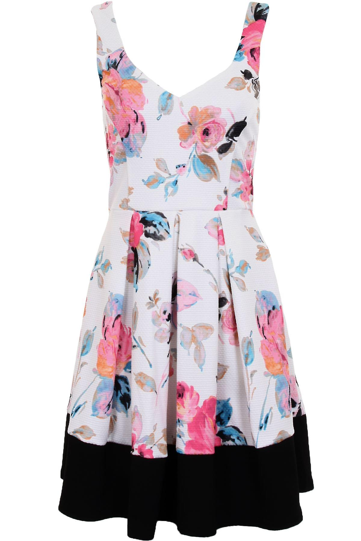 Ladies V Neck Sleeveless Panel Block Hem Crepe Floral Pleated Skater Dress