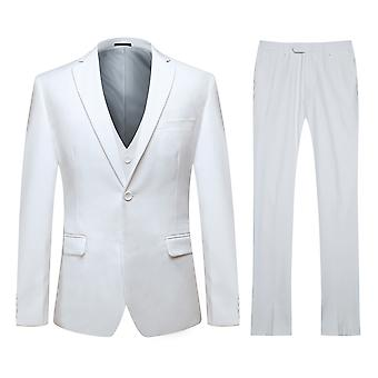 Allthemen Men's One-Button Double Split Suit 3-Piece Suit Blazer&Vest&Trousers