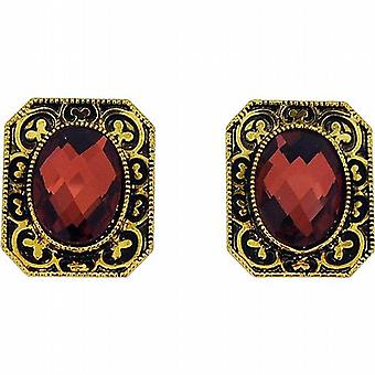 The Olivia Collection Maroon Faceted Bead Set Fancy Rectangle Goldtone Earrings