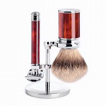 Muhle Tortoiseshell Safety Razor & Synthetic Shaving Brush Set