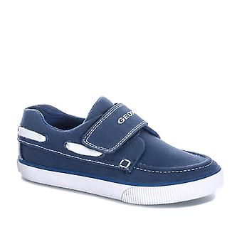 Children Boys Geox Kilwi Trainer Pumps In Navy White- Hook And Loop Fastening-