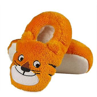 Infants Plush Fleece Cute Orange Tiger Full Foot Slippers
