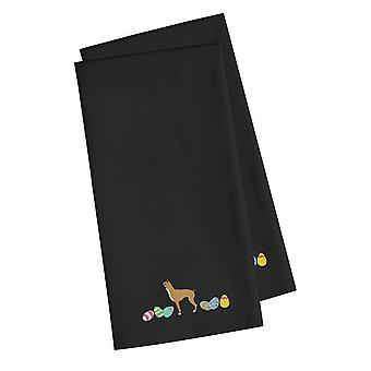 Boxer Easter Black Embroidered Kitchen Towel Set of 2