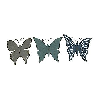 Blue and Grey Metal Art Butterfly Indoor Outdoor Wall Sculpture Set of 3