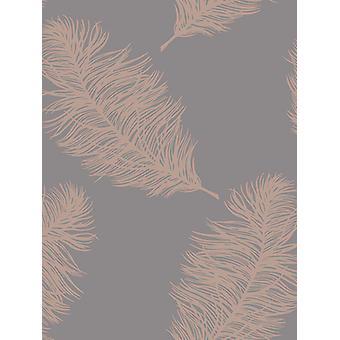 Fawning Feder Tapete Rose Gold / Grau Holden 12629