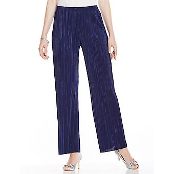 Ladies Womens Plain Plisse Trouser Flares