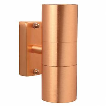 2 Light Outdoor Cylinder Up / Down Wall Light Copper Ip54