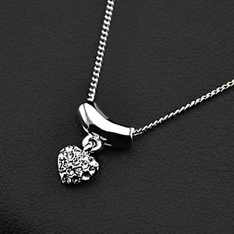 18K White Gold Plated Dangle Heart Pendant