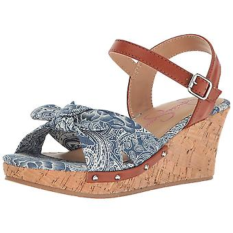Kids Jessica Simpson Girls Fabiana Fabric Buckle Ankle Strap Wedge Sandals