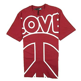 Love Moschino Love Peace Cotton T-shirt Red/white