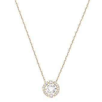 Swarovski Sparkling Dance Round Necklace - White - Rose Gold Plate