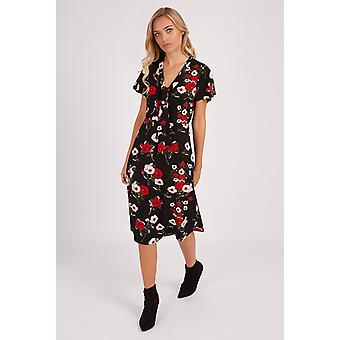 Louche Enora Rose Printed Pussybow Dress Black