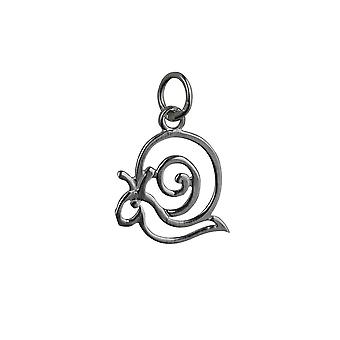Silver 15x17mm pierced Snail Pendant or Charm