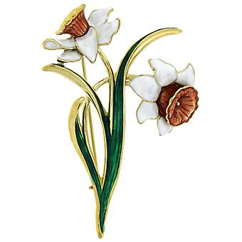 Fine Enamels White Daffodil Brooch - March Birthday