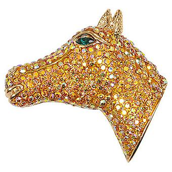 Butler  and  Wilson Vintage Crystal Horse Head Brooch  Gold