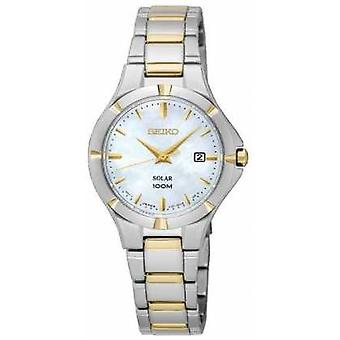 Seiko Womens Solar Two Tone Mother Of Pearl Dial SUT294P1 Watch