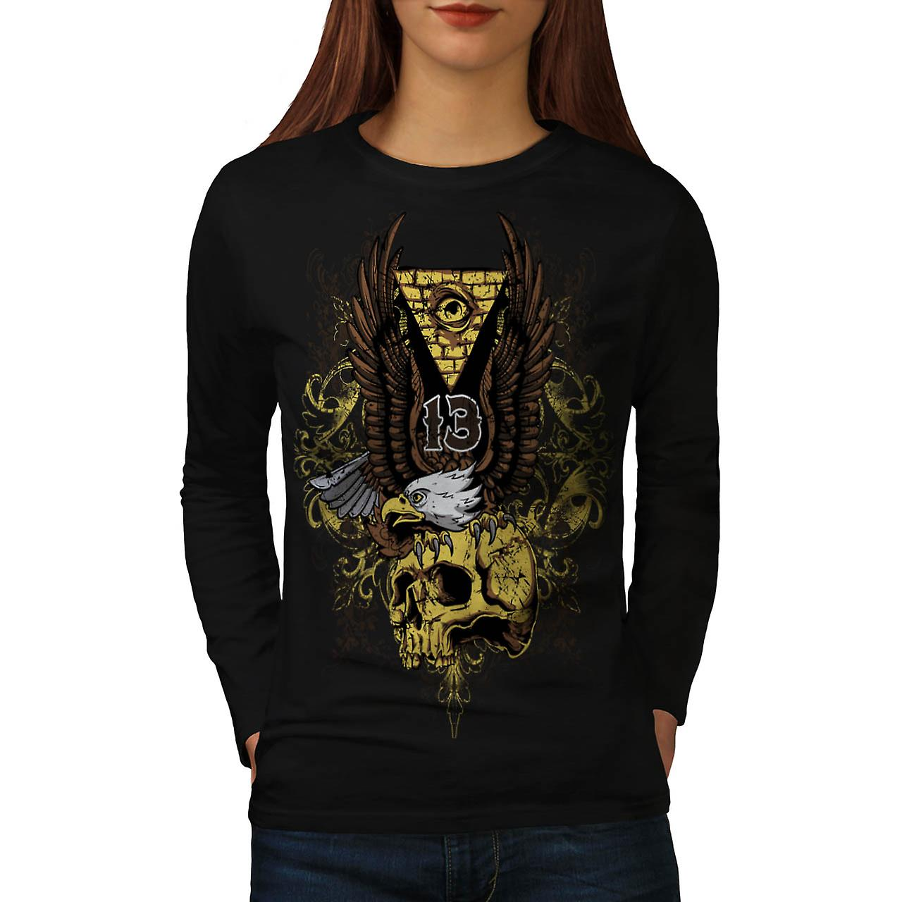 Evil Eagle Bird Skull Deadly Eye Women Black Long Sleeve T-shirt | Wellcoda