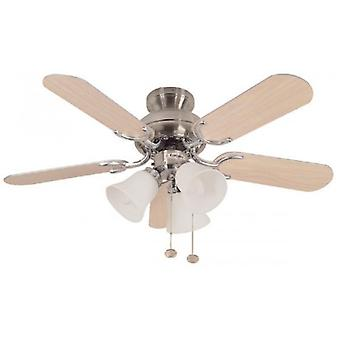 Ceiling Fan Capri Combi stainless steel with light 91.4 cm / 36