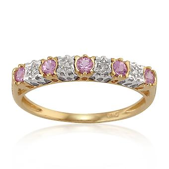 9ct Yellow Gold 0.26ct Pink Sapphire & 2pt Diamond Half Eternity Band Ring