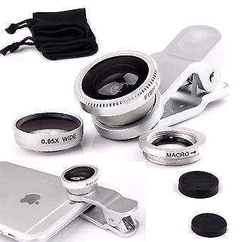ONX3 Samsung Galaxy S8 Plus (Silver) Mobile Phone Universal Camera Lens 3 in 1 Kit Wide Angle Lens + Fisheye Lens + Macro Lens with Clip-on 180 Degree For Both Android and iOS Devices