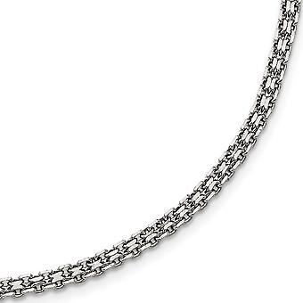 Stainless Steel Polished 3.10mm Fancy Double Link Chain Necklace - Length: 16 to 20