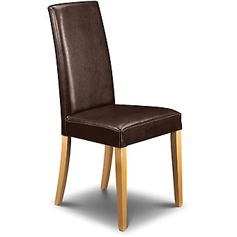Trenbo Brown Faux Leather Chair Sprung Seat Fully Assembled
