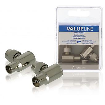 ValueLine coaxial connector, koaxialhane, angled + koaxialhona, angled, 2 piece, metal