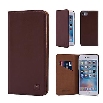 32 ° Real classic Leather Wallet per Apple iPhone 6 6S - marrone scuro
