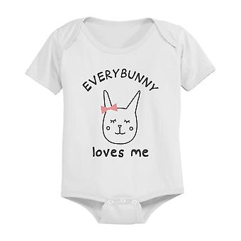 EveryBunny Loves Me Cute Graphic Design Printed White Baby Onesie