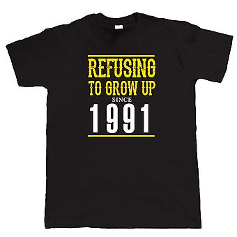 Vectorbomb, Refusing To Grow Up Since 1991 Mens Funny T Shirt  (S to 5XL)