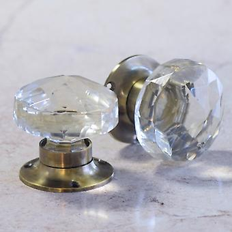 Glass Mortice Door Knobs with Antique Style Base