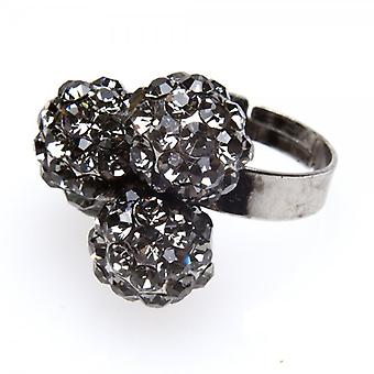 Camille Womens Ladies Fashion Jewellery Dark Grey Adjustable Diamante Three Ball Cluster Ring