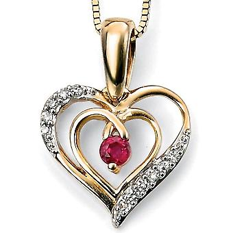 9 ct Gold With Ruby And Diamond Heart Necklace