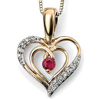 9 ct oro con rubino e diamante cuore collana
