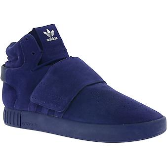 adidas originals tubular invader strap men's genuine leather sneaker Blau BB5036