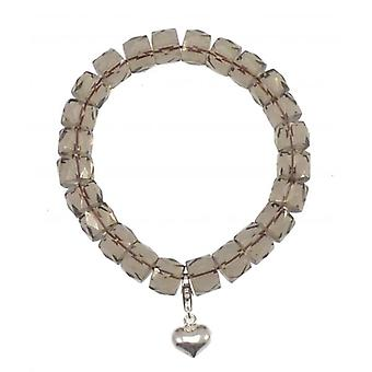 W.A.T Smokey Grey  Stretchy Glass Bead Bracelet With Silver Heart Charm