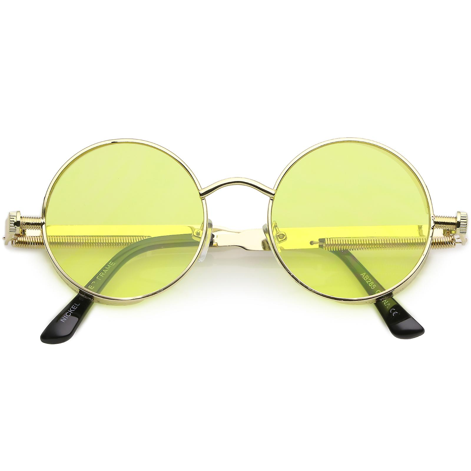 Steampunk Metal Round Sunglasses With Metal Side Cover Flat Lens 42mm