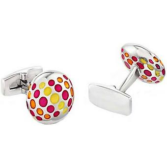 Duncan Walton Yordas Luxury Rhodium Plated Cufflinks - Pink/Orange