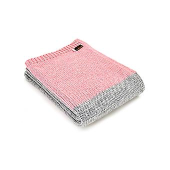 Tweedmill strikket Alpaca Mix Panel Throw - grå/Pink