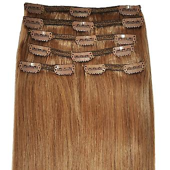 #12 Light Chestnut Brown - Clip-in Hair Extensions - Full Head