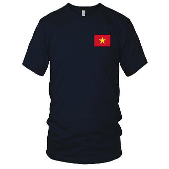 Vietnam Vietnamese Country National Flag - Embroidered Logo - 100% Cotton T-Shirt Ladies T Shirt