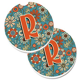 Letter R Flowers Retro Blue Set of 2 Cup Holder Car Coasters