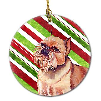 Brüssel Griffon Candy Cane Holiday Christmas keramiske Ornament LH9224