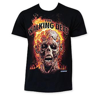 Den Walking Dead Flaming Zombie hoved Tee Shirt