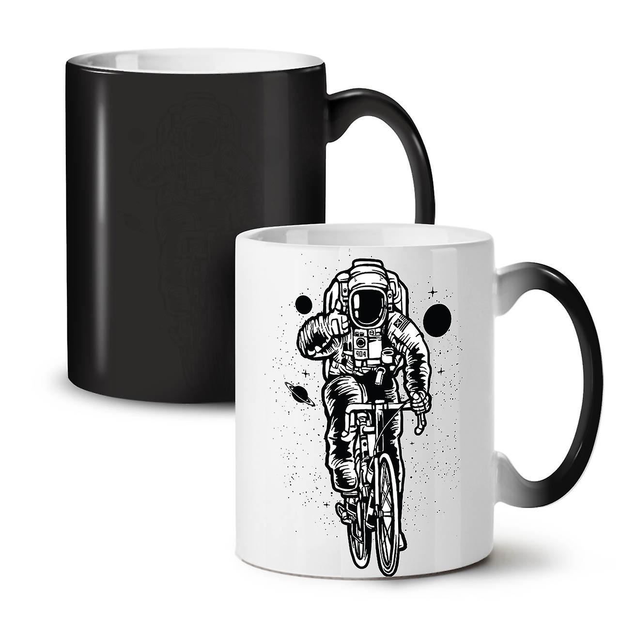 OzWellcoda Changeant Noir 11 Vélo Astronaute Couleur Café Céramique Tasse Thé Sur Nouvelle EYDIbe2WH9
