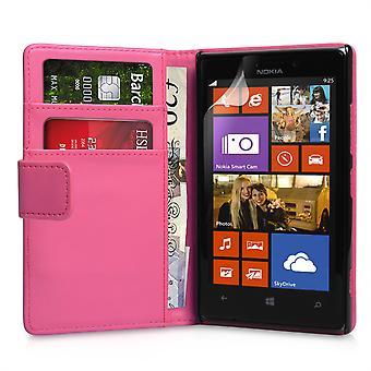 Nokia Lumia 925 carteira de couro-efeito caso - rosa quente